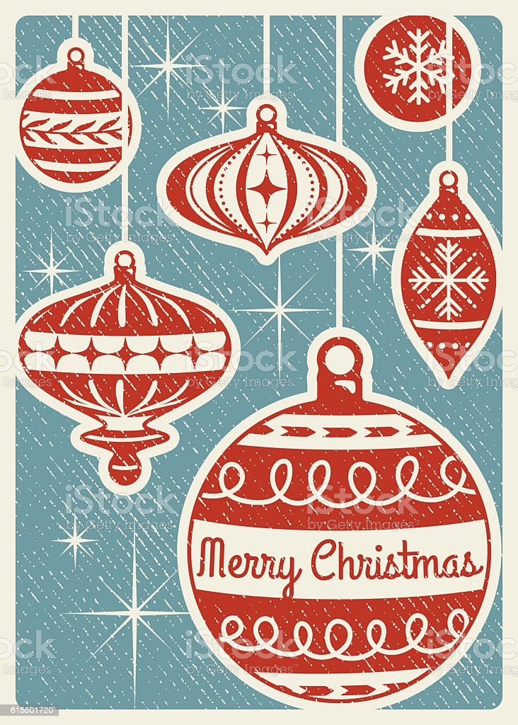 Retro Christmas Card With Ornaments and Copy Space vector art illustration