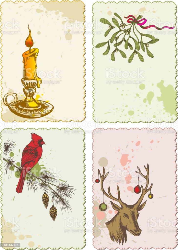 retro Christmas cards royalty-free stock vector art
