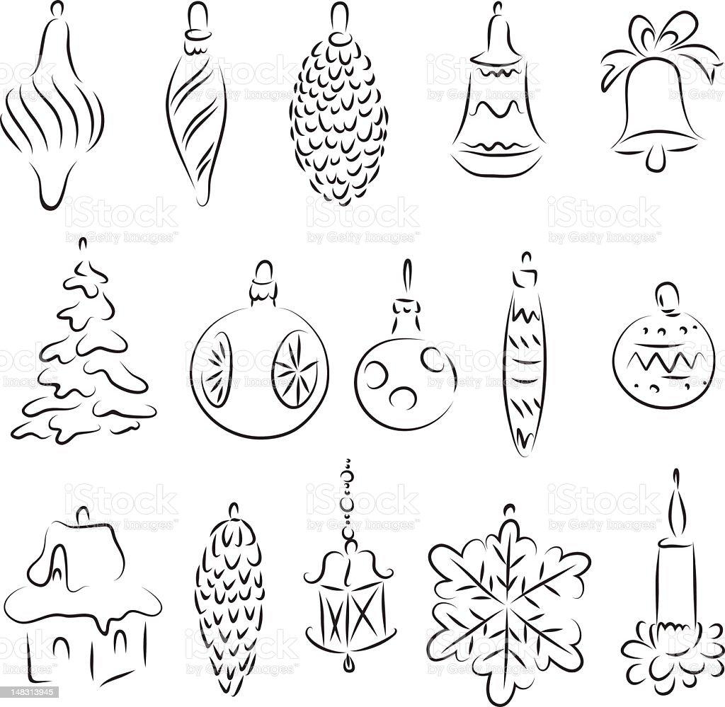 Retro christmas decorations royalty-free stock vector art