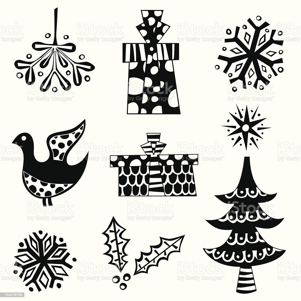 Retro Christmas elements royalty-free stock vector art