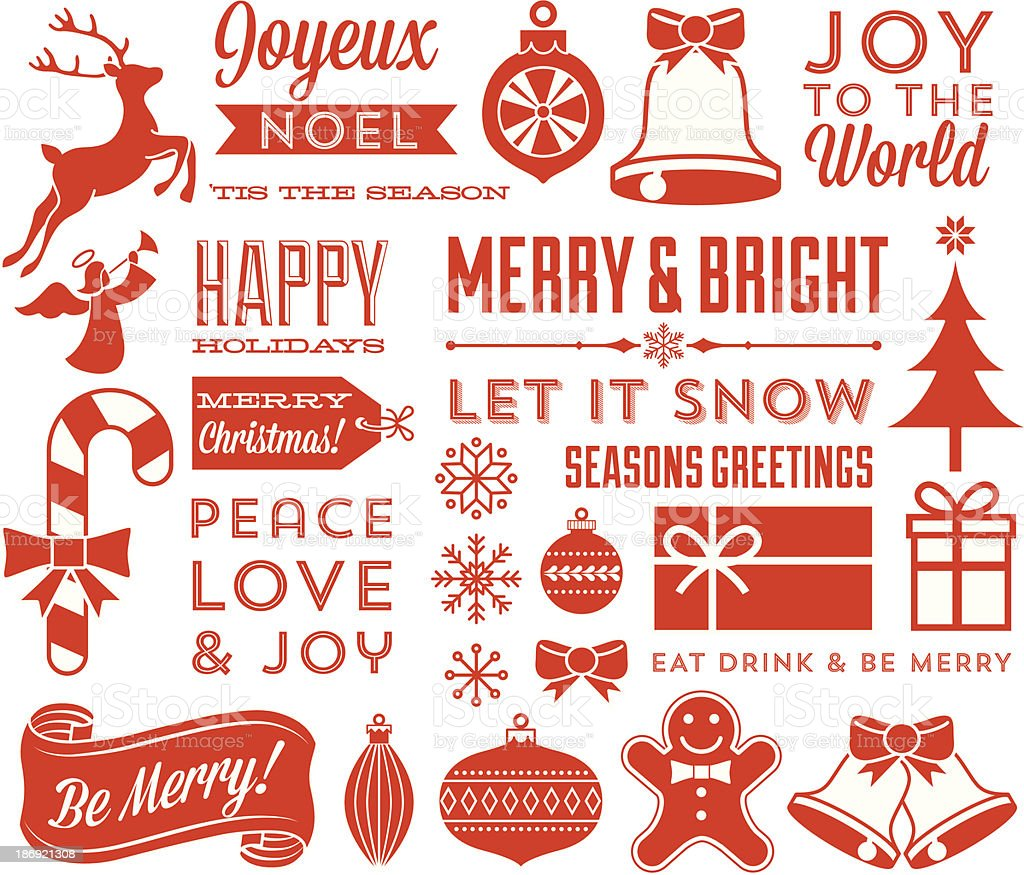 Retro Christmas Elements vector art illustration