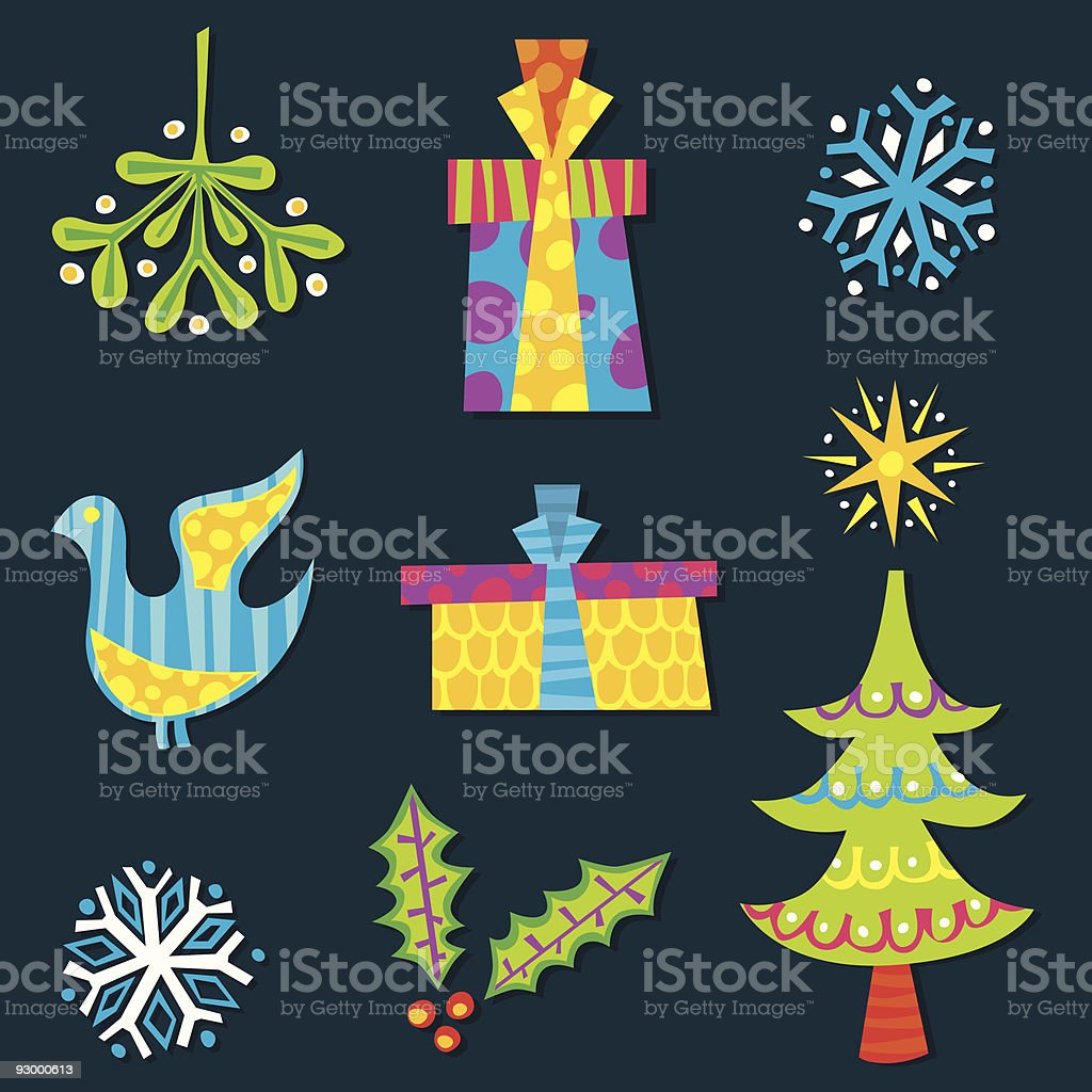 Retro Christmas elements royalty-free stock vector art