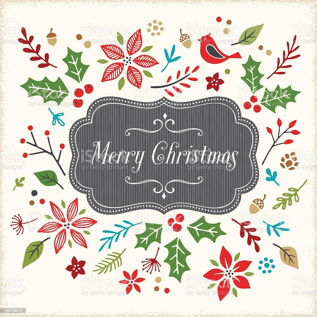 Retro Christmas Frame royalty-free stock vector art