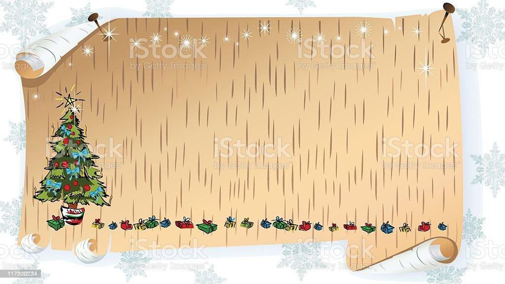 Retro Christmas on Birch Bark royalty-free stock vector art
