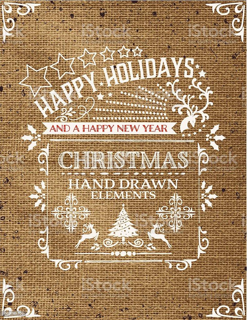 Retro Christmas Ornaments Template On Red Burlap vector art illustration