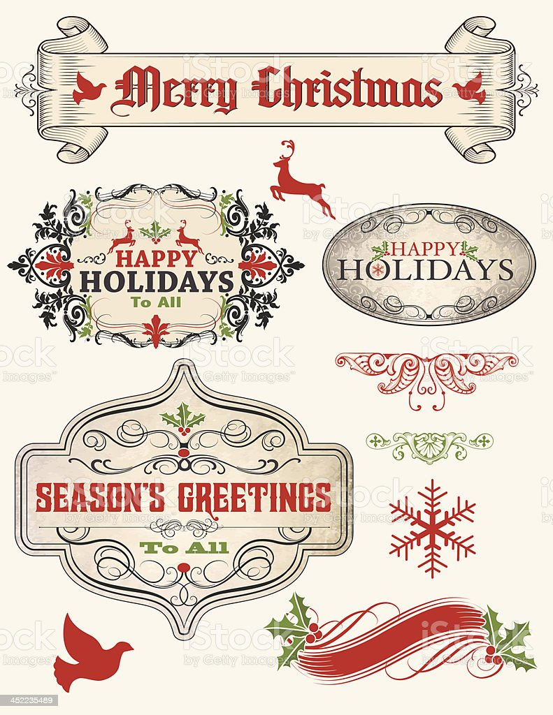 retro Christmas Parchment Text Banners royalty-free stock vector art