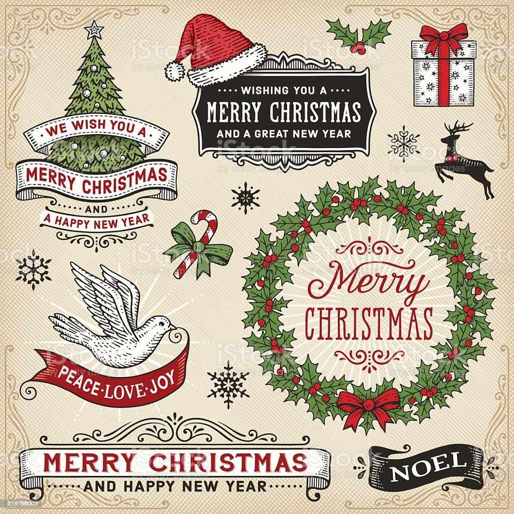 Retro Christmas Banner Und Schilder Rahmen Vektor Illustration ...