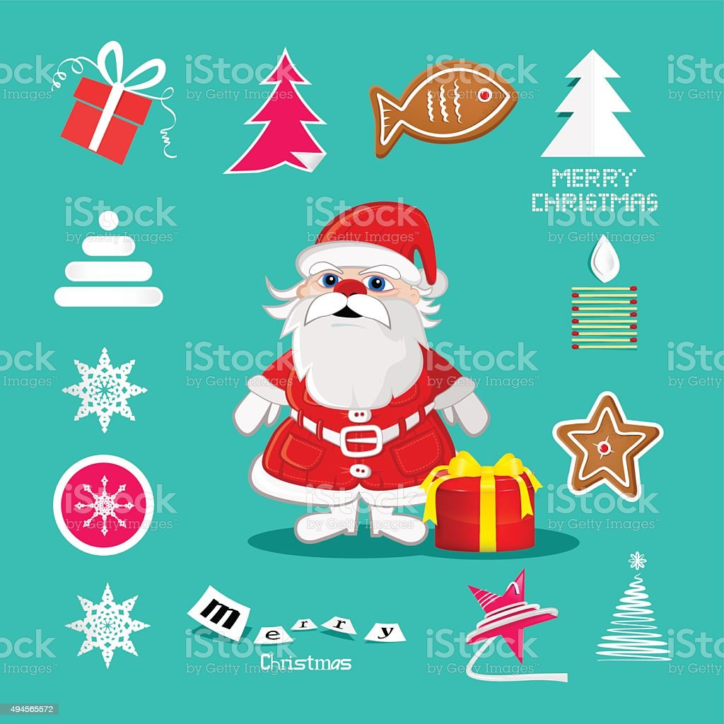 Retro Christmas Symbols vector art illustration