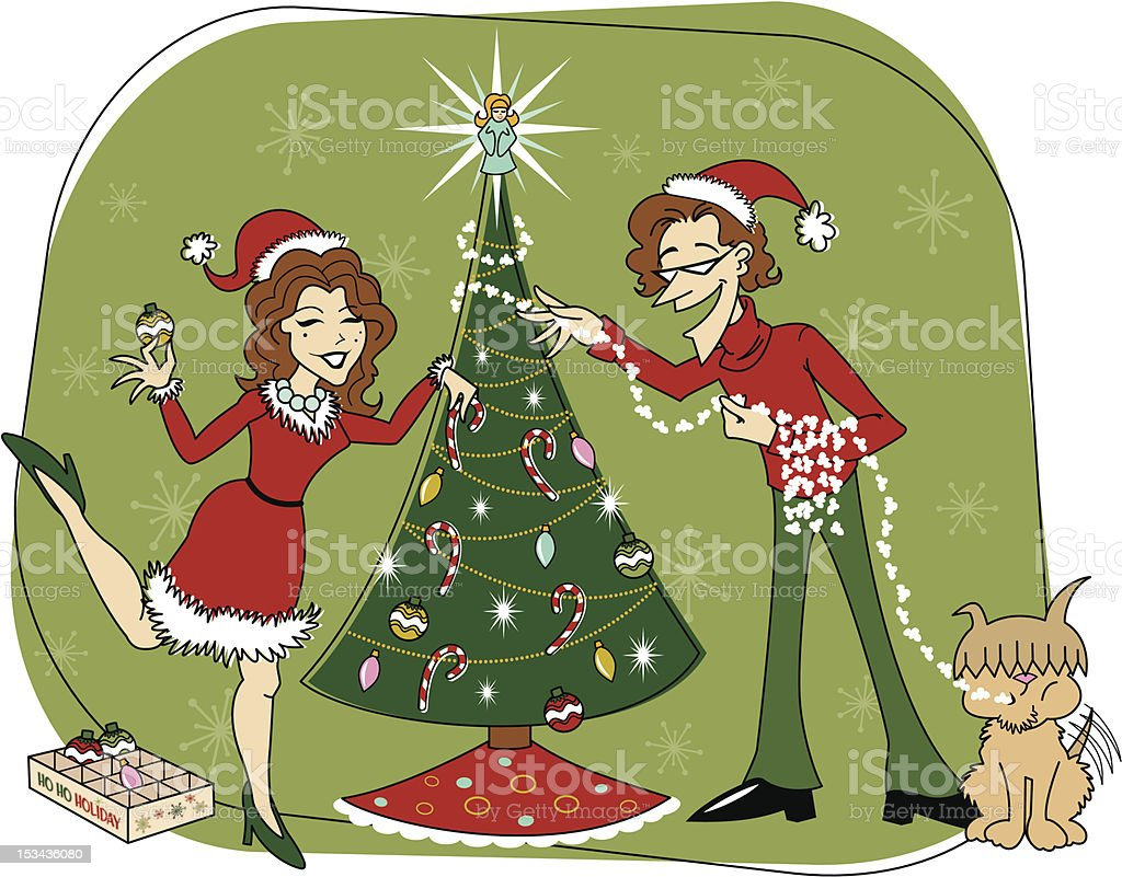 Retro Christmas Tree Decorating Color Version royalty-free stock vector art