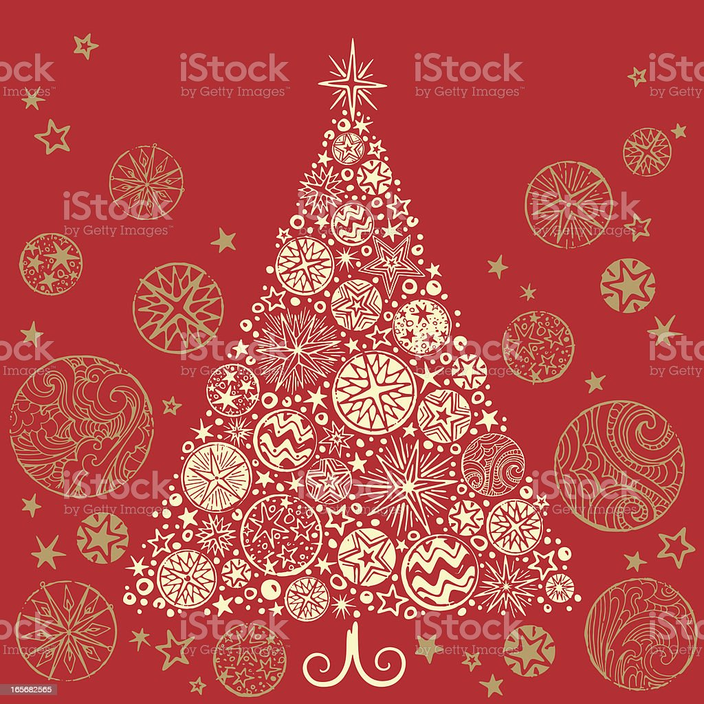 Retro Christmas Tree vector art illustration
