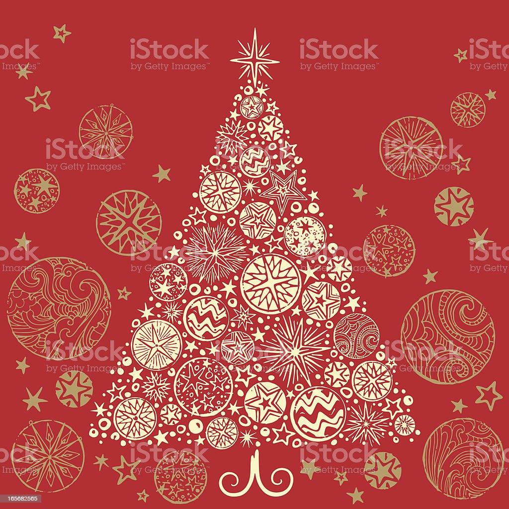 Retro Christmas Tree vector art illustration