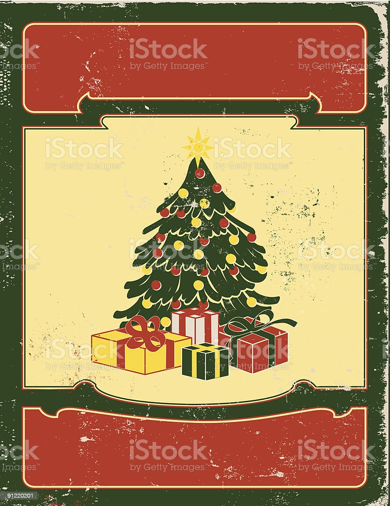 Retro Christmas Tree with gifts and blank placards royalty-free stock vector art