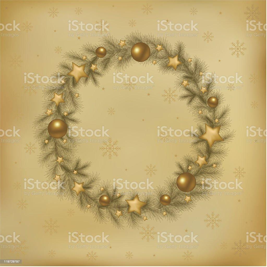 Retro Christmas Wreath royalty-free stock vector art
