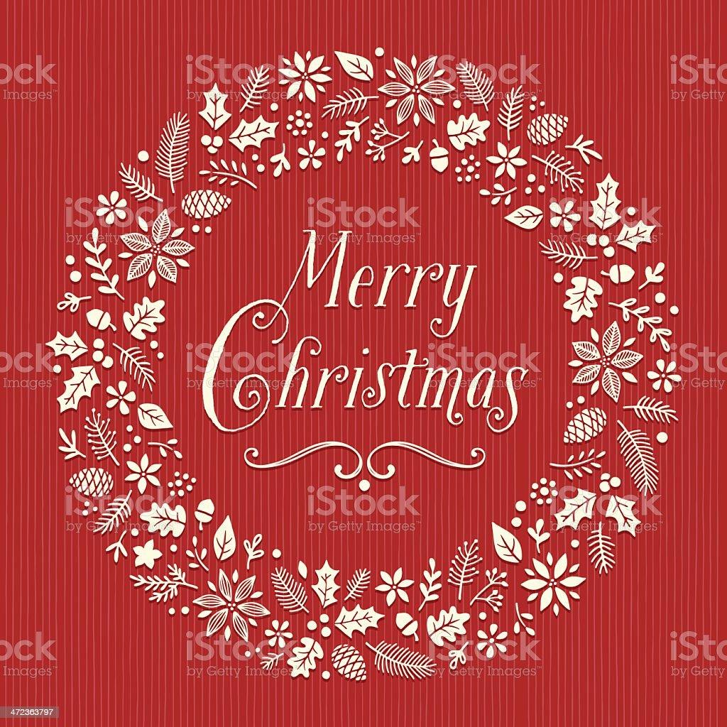 Retro Christmas Wreath vector art illustration