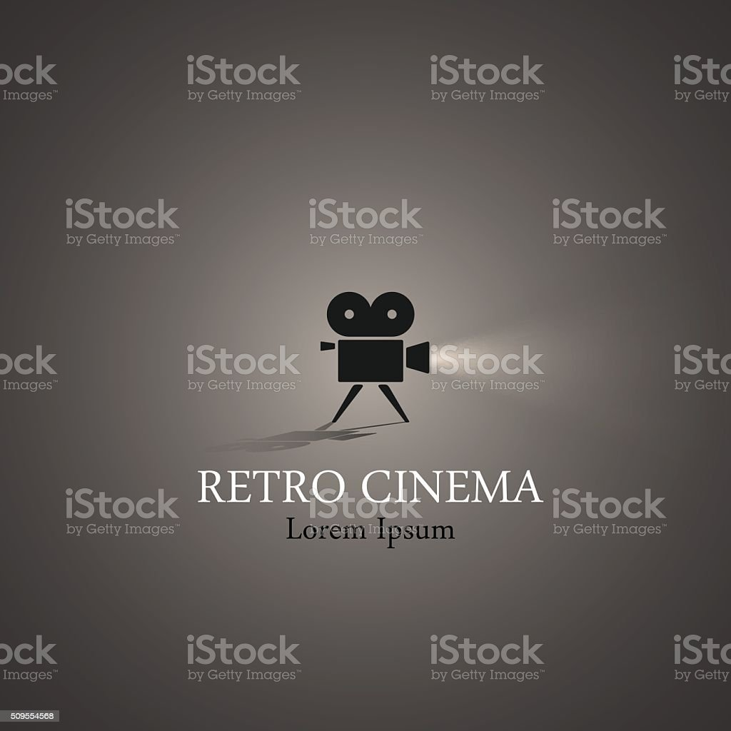Retro cinema symbol vector art illustration