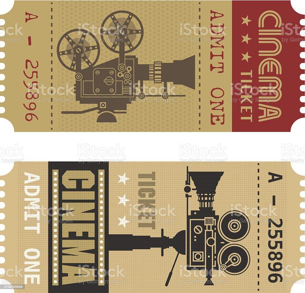 Retro cinema ticket vector art illustration