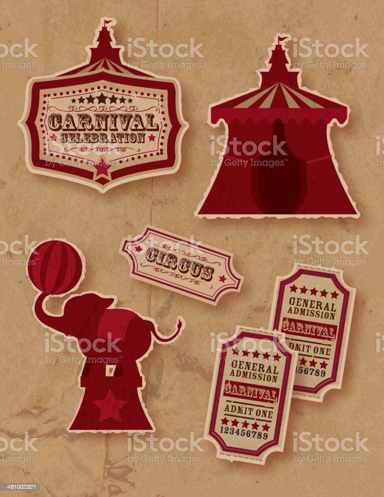 Retro Circus or carnival themed set vector art illustration