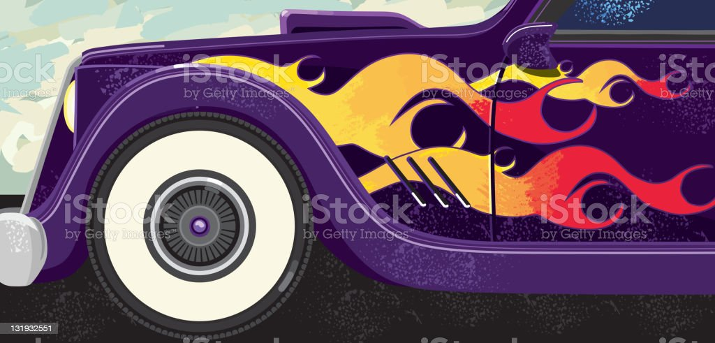 Retro classic car with flames and whitewalls vector art illustration