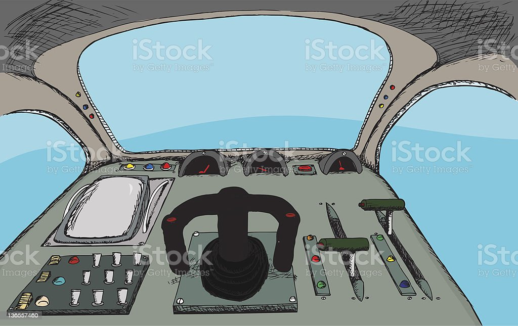 Retro Cockpit vector art illustration