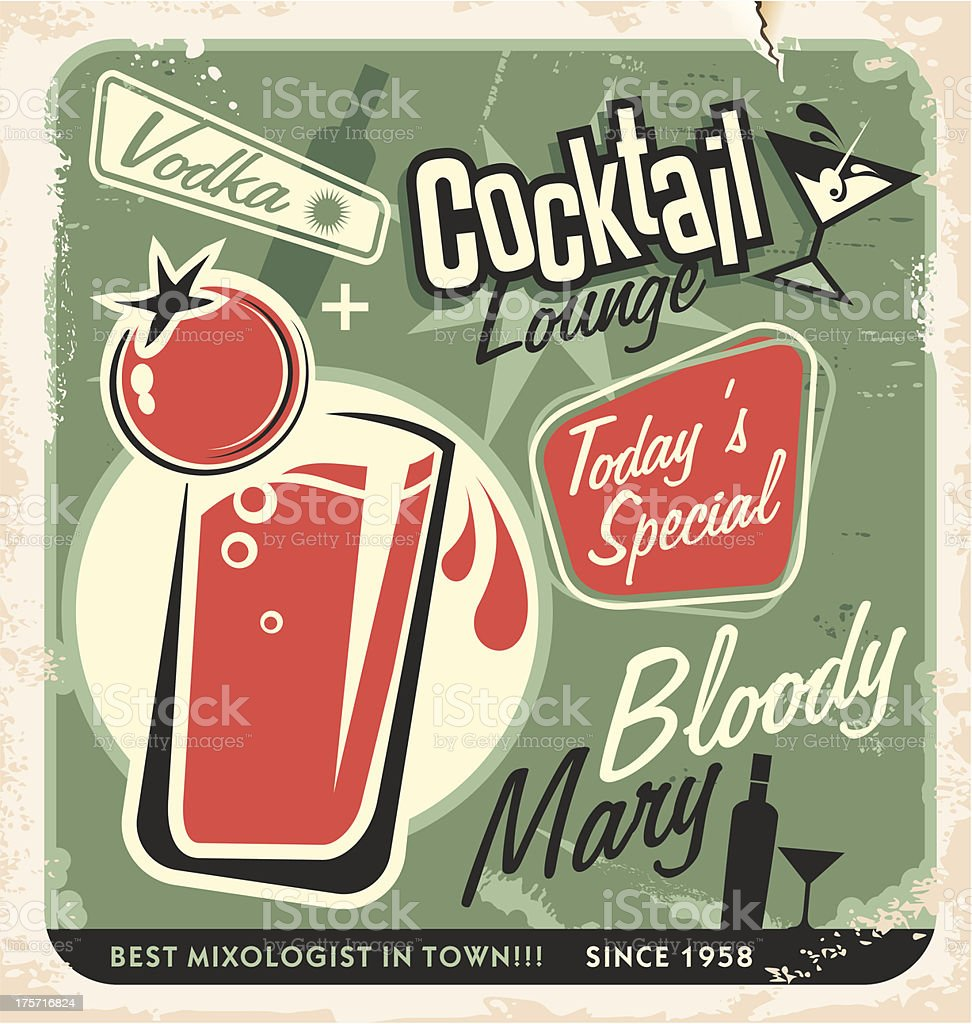 Retro cocktail lounge vector poster design vector art illustration