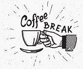 Retro coffee break crafted illustration