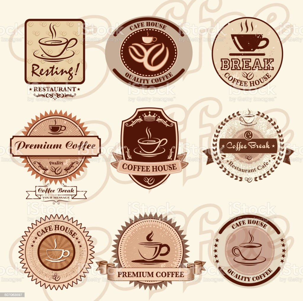 retro coffee cup icons royalty-free stock vector art