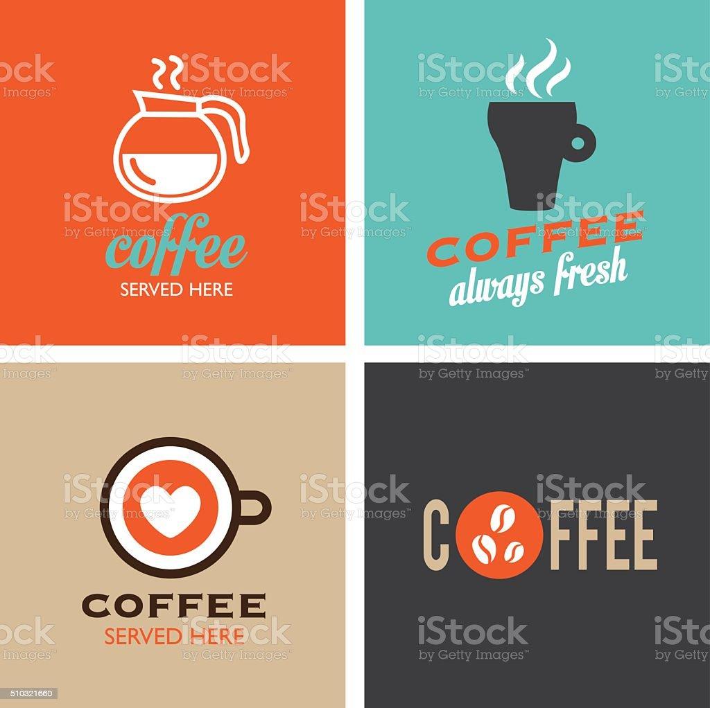 Retro Coffee Poster - Icons vector art illustration