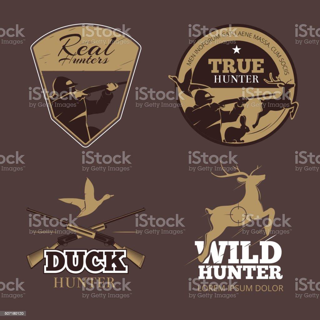 Retro color hunting labels set vector art illustration