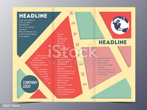 Retro Color Table Style Brochure Template Stock Vector Art