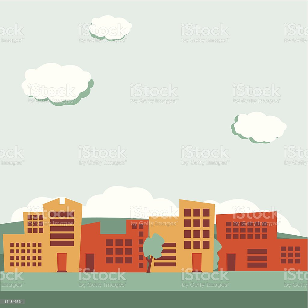 A retro colored picture of suburbia background with clouds royalty-free stock vector art
