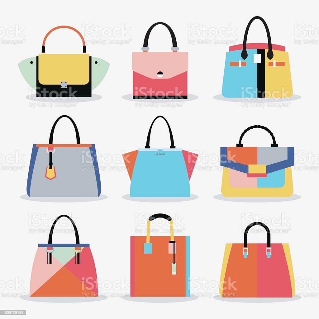 Retro colorful cute trendy women handbags and purse set vector art illustration