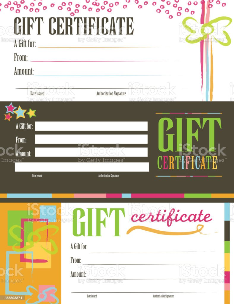 Retro colorful Gift certificate set royalty-free stock vector art