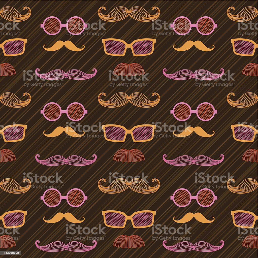 Retro Colorful Hipsters repeating pattern vector art illustration