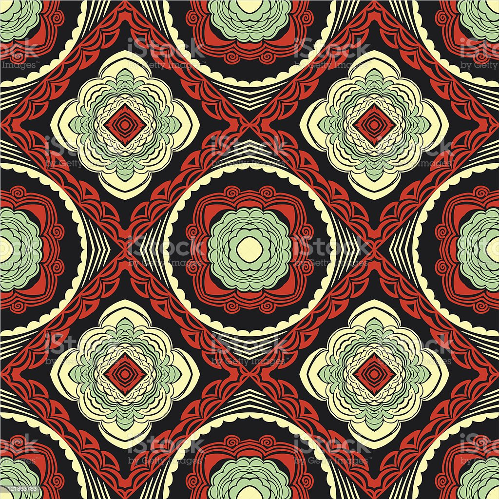 Retro colorful seamless wallpaper, background or textile royalty-free stock vector art