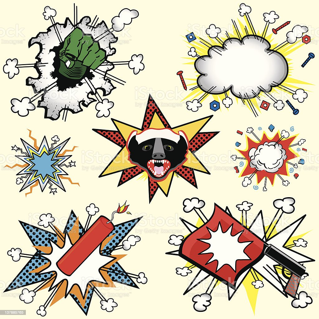 Retro Comic book explosions and cloud bursts royalty-free stock vector art
