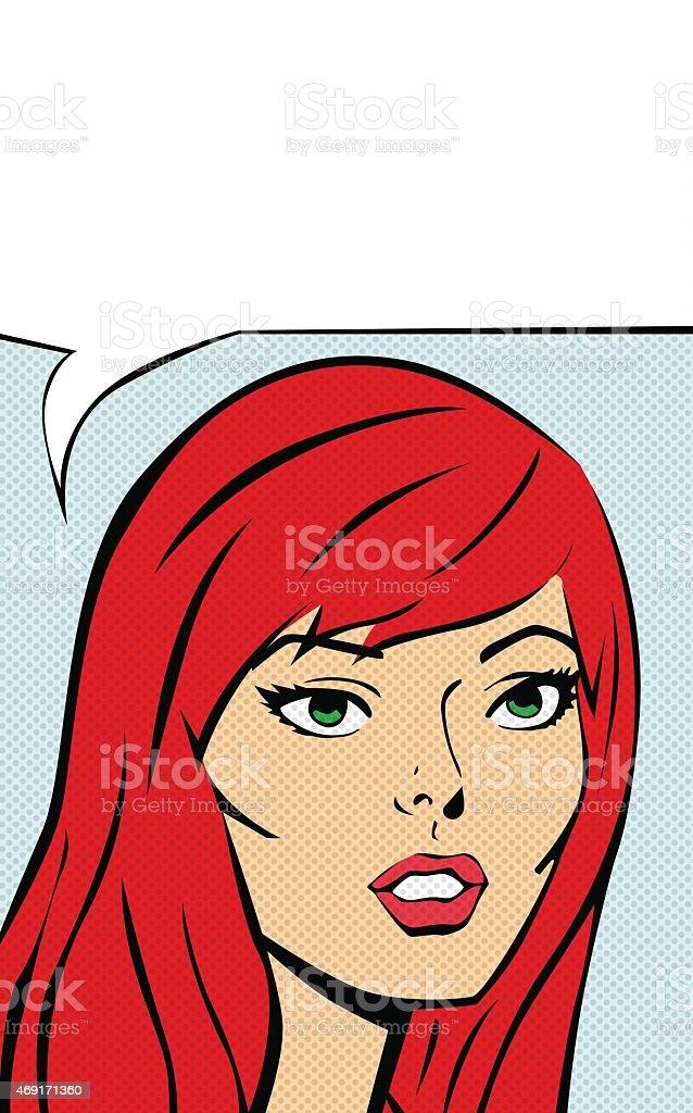 Rétro fille dessinée avec bulle de dialogue stock vecteur libres de droits libre de droits