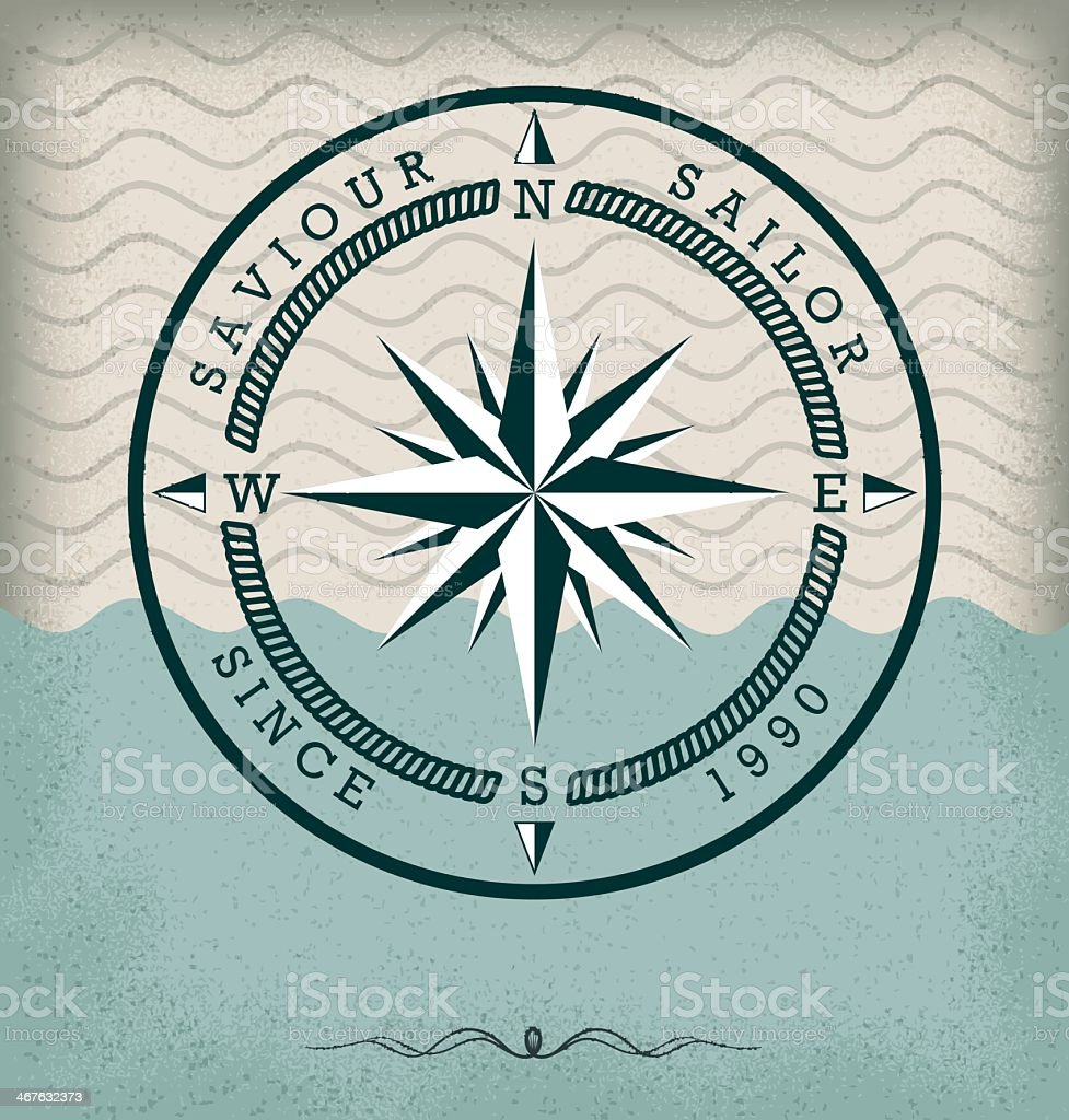 Retro compass nautical badge on a stylized water background vector art illustration