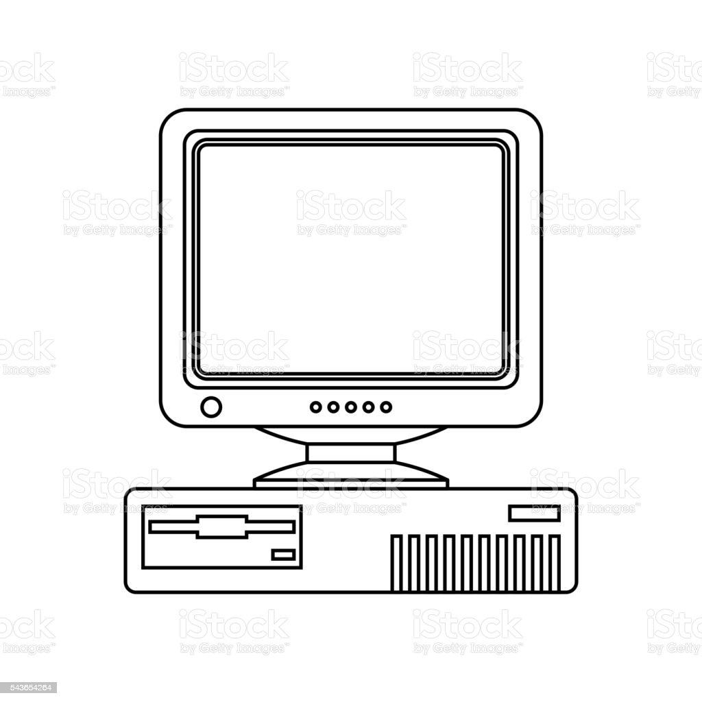 Retro Computer icon with CRT Monitor. Outline version vector art illustration