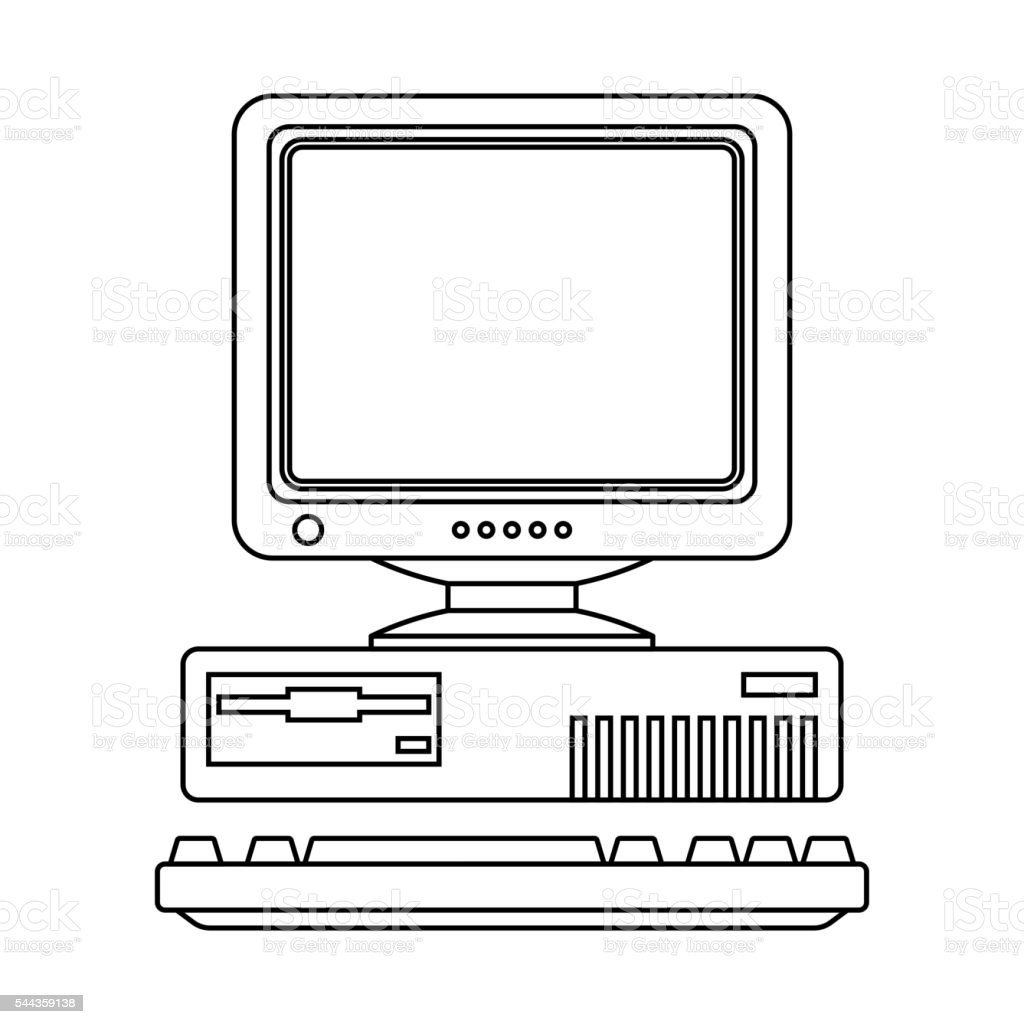 Retro Computer Icon with Keyboard and CRT Monitor. Outline version vector art illustration
