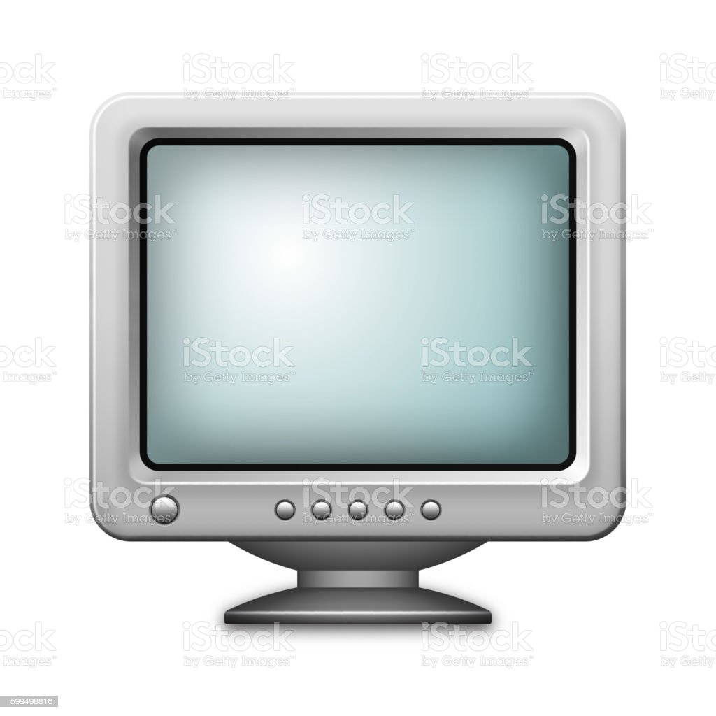 Retro computer monitor icon isolated on white background. vector art illustration