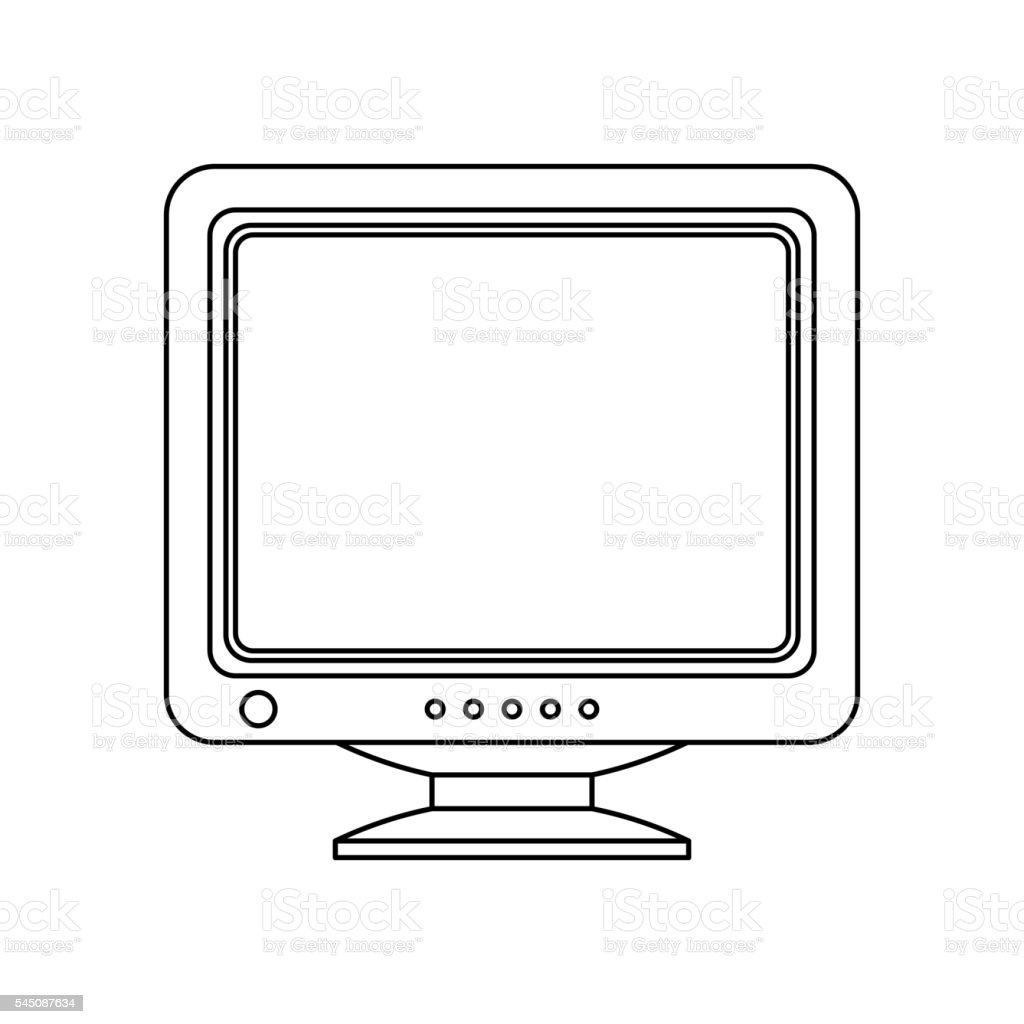 Retro Computer Monitor Icon. Old Computer Screen isolated on white background. vector art illustration
