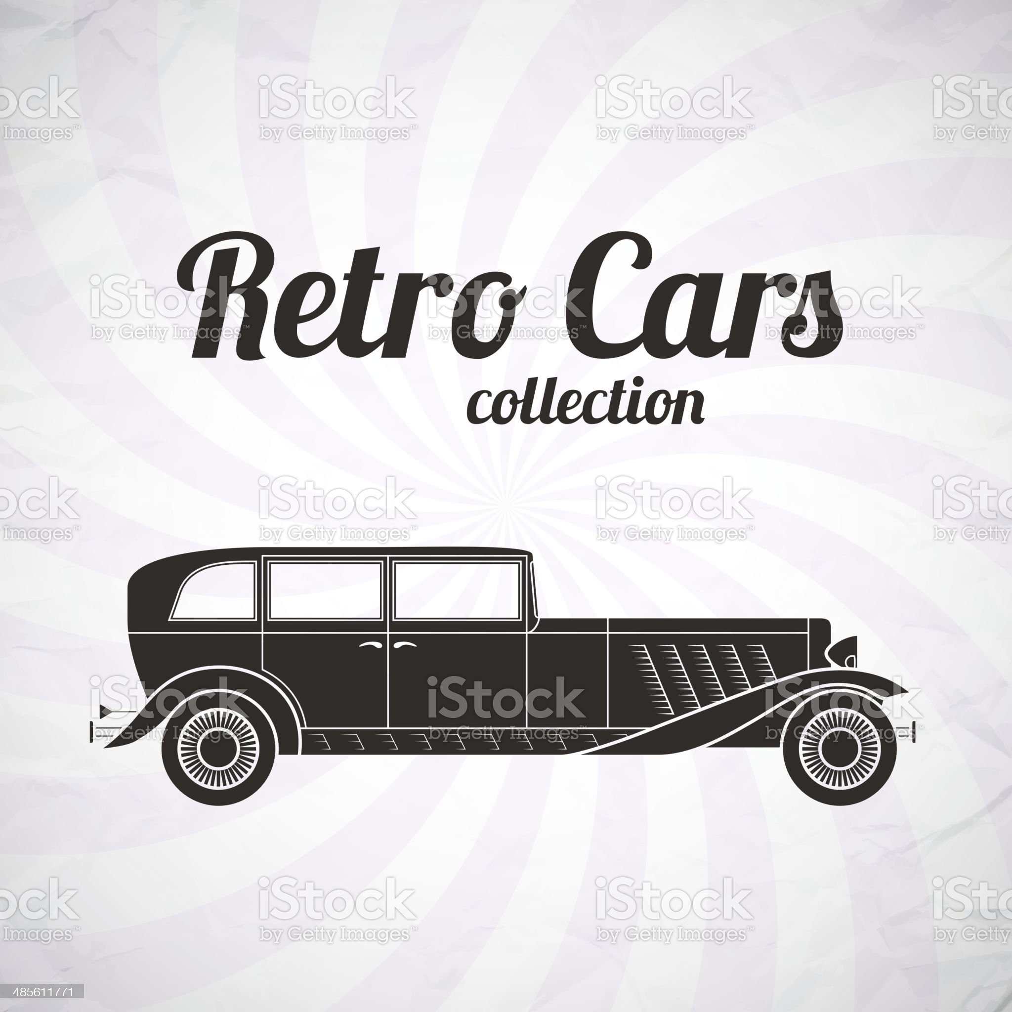 Retro cabriolet car, vintage collection royalty-free stock vector art