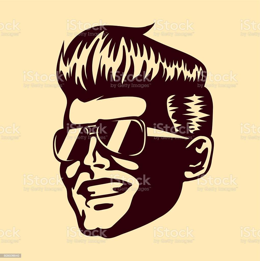 Retro cool dude man face sunglasses rockabilly hair vector vector art illustration