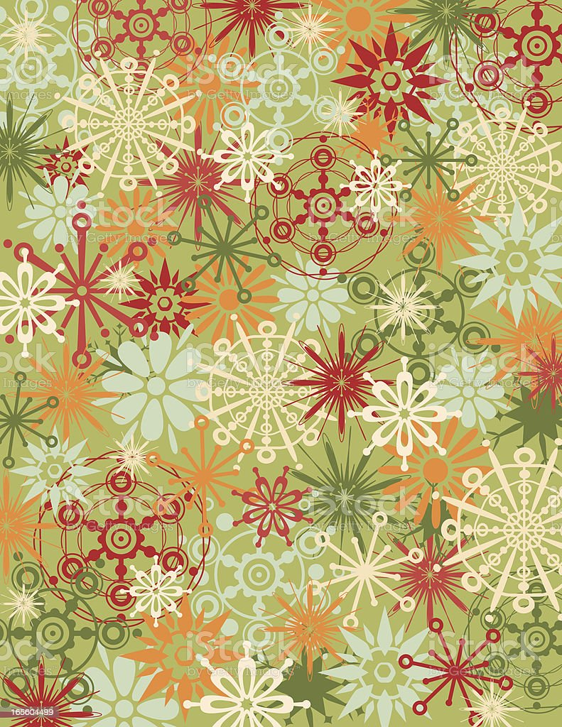 retro cool snowflake wrapping paper royalty-free stock vector art