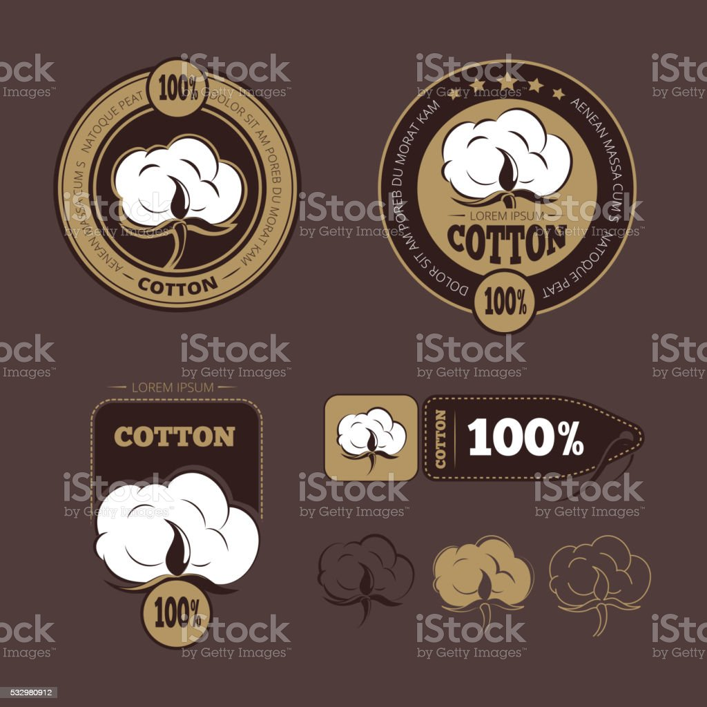 Retro cotton vector icons, labels vector art illustration