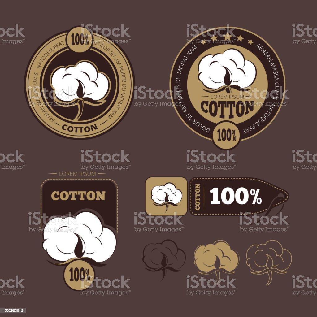 Retro cotton vector icons, labels vector art illustration