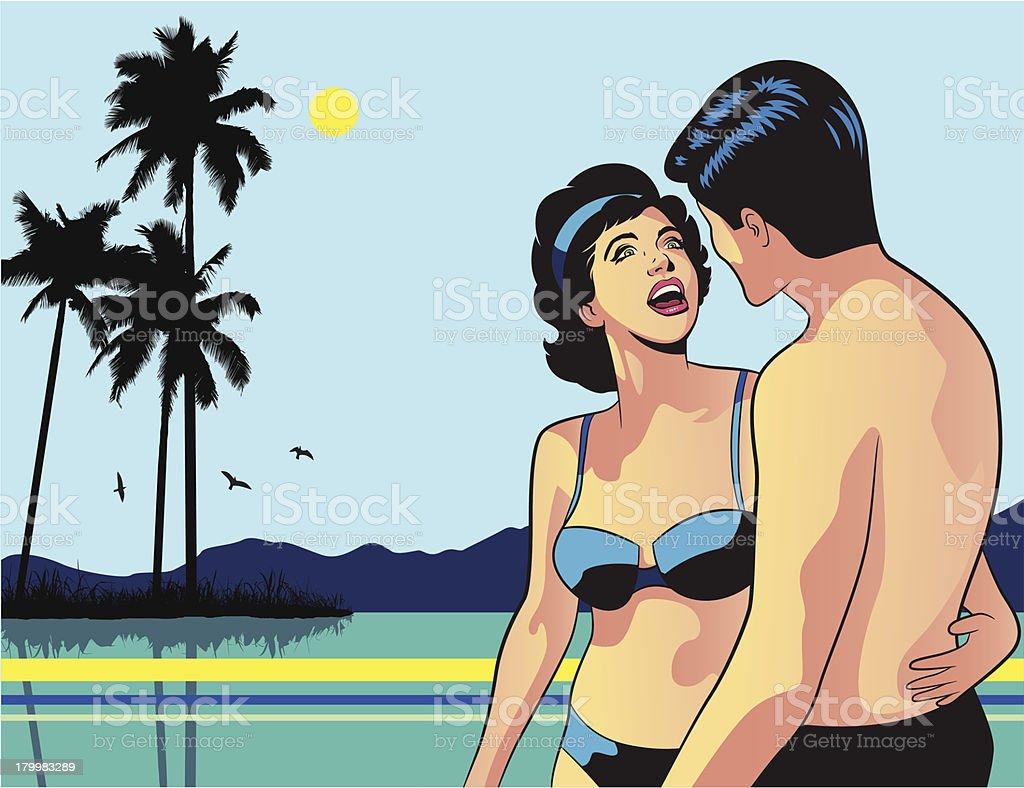 Retro Couple in the Beach royalty-free stock vector art