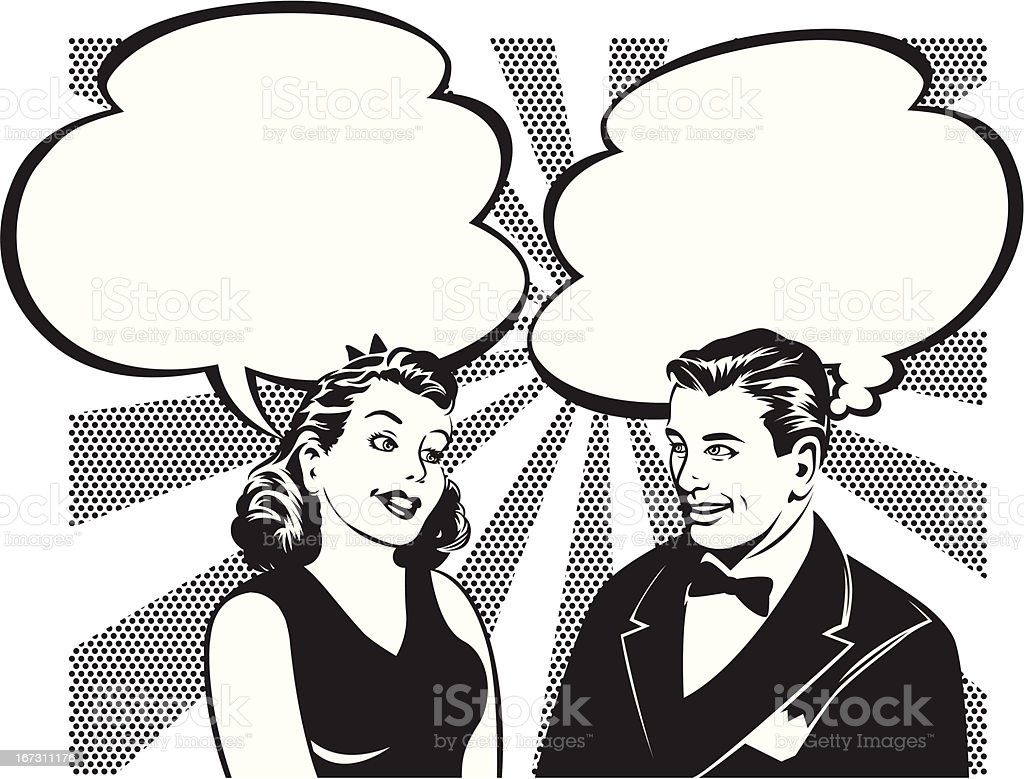 retro couple talking vector art illustration