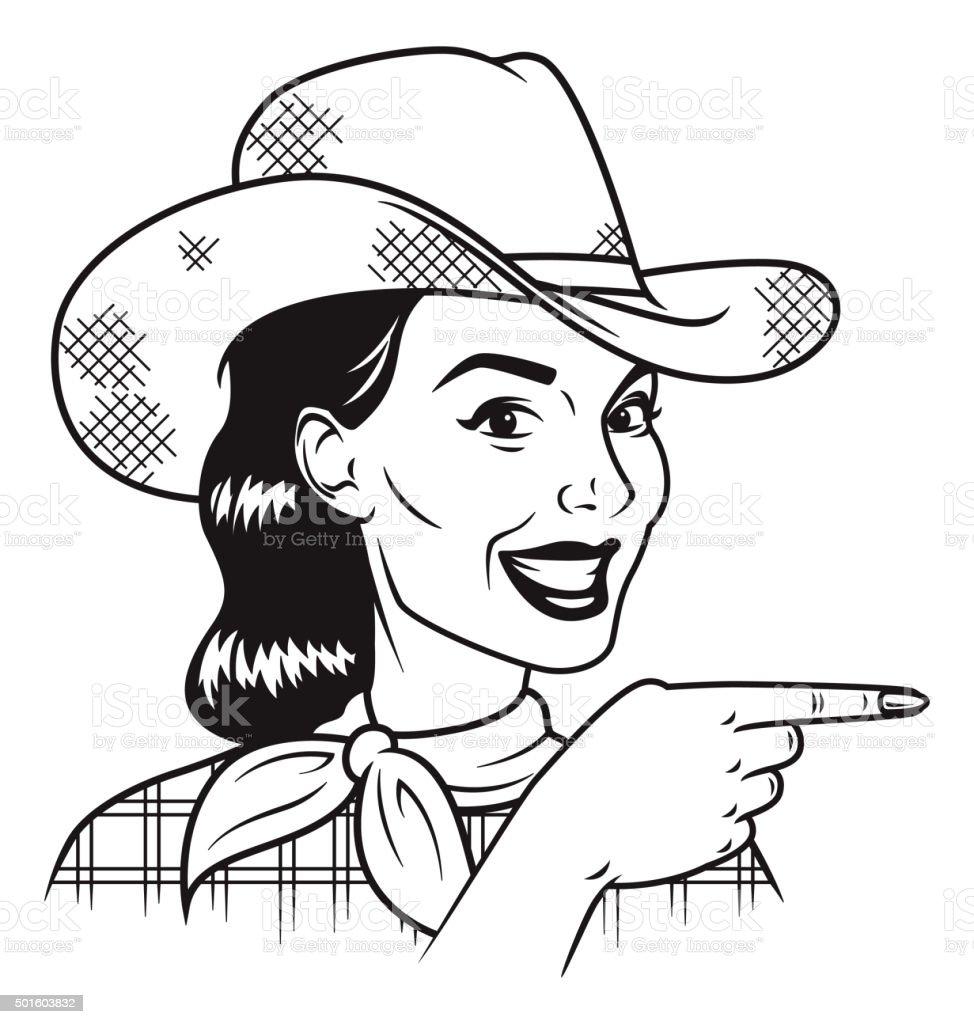 Retro Cowgirl Pointing Her Finger vector art illustration