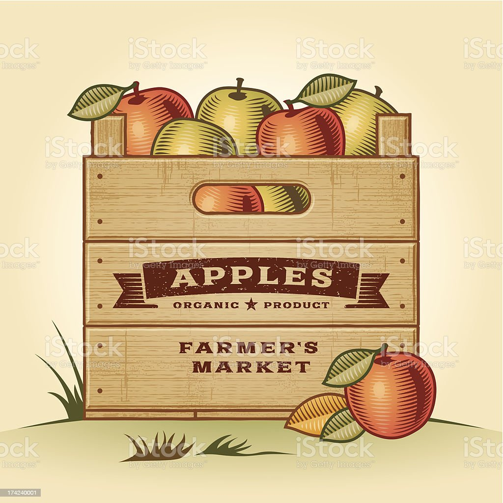 Retro crate of apples vector art illustration